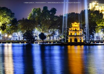Vue de nuit sur Thap Rùa - Tour de la Tortue - Hanoï - Vietnam
